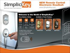 "SimpliciKey - ""open the dead bolt on this electronic door lock with a remote control, programmed key pad, or key"""
