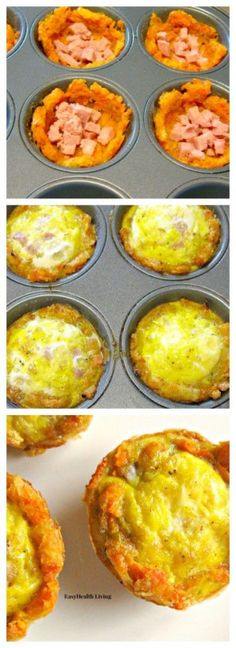 Sweet Potato Breakfast Cups- Quick. healthy breakfast made with sweet potatoes. lean ham and eggs.