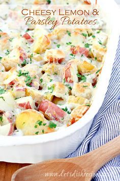 Cheesy Lemon Parsley Potatoes Recipe | Red and Yukon Gold potatoes are baked in a creamy lemon cheese sauce. This delicious side dish is perfect for any meal!