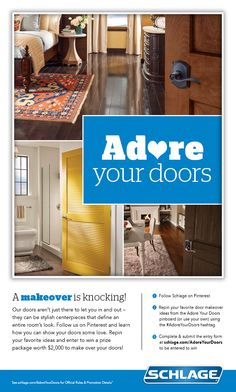 Enter each day for your chance to win a Schlage House of Locks and a $1500 Lowe's gift card! #AdoreYourDoors Home Decor Furniture, Home Furnishings, Home Renovation, Home Remodeling, Pantry Essentials, Hearth And Home, Door Makeover, Adore You, Today March