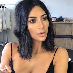 Stunning Kim Kardashian with fresh bob haircut and soft nude makeup look. #makeup #beauty #makeuplook #nudemakeup #nudelips #kimkardashian #bobhaircut #hairstyle #fabfashionfix