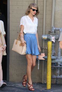 Taylor loves a clean, classic look—so it makes sense that this structured bag quickly became her favorite. She's been seen escorting it around town no less than five times…and counting.  BUY: Michael Kors Casey Small Leather Satchel, $895, michaelkors.com   - MarieClaire.com