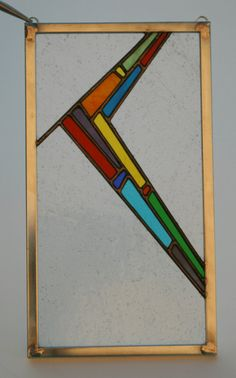 """A Sudden Understanding: Colorful Stained Glass Panel, Original Design, 6 3/8"""" x 11 3/8"""""""