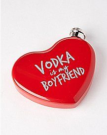 Vodka Is My Boyfriend Heart Flask - 4 oz