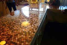 Penny Countertop: with resin coating by Toki~, via Flickr