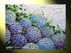 "Original Art Abstract Painting Hydrangea Textured Flowers Landscape Impasto Palette Knife, White Purple Lavender Flower 24x18"" -Christine. $245.00, via Etsy."