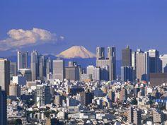 MT.FUJI AND TOKYO SHINJUKU AREA SKYLINE, TOKYO, JAPAN  Photographic Print|By Steve Vidler