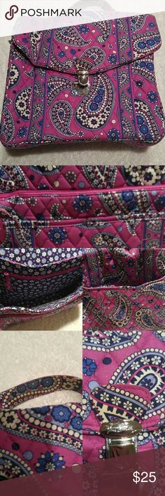 ⚡flash sale⚡ Vera Bradley Pink Paisley Bag Reminds me of a lunch box styled bag. Has the metal loops on both side for a strap, but unfortunately I do not have the strap for it. Second photo shows two pockets and a zipper pouch on the front, the main compartment has a zipper pouch as well, and the back has a magnetic pocket. Some discoloration to the material on the underside of the handle & the tab you pull to open the bag. Its still in great condition. Vera Bradley Bags