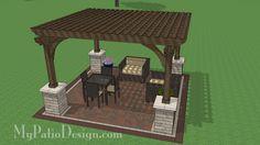 14x14 Cedar Pergola Design with Columns | Downloadable Plan – MyPatioDesign.com