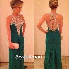 Elegant Green A-line Chiffon Long Prom Dresses, Evening Dress, Formal Dresses