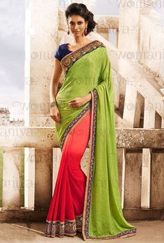 Attractive Coral Red and Lime Green Saree