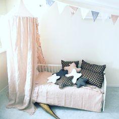 Handmade linen canopy, bedding, cushions, stars, garlands for littleones