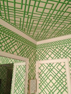 This green trellis wallpaper is one of my favorites and I love...