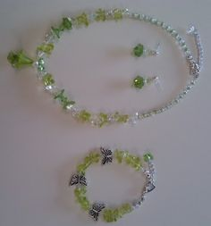 Green Necklace Bracelet and Earrings Set