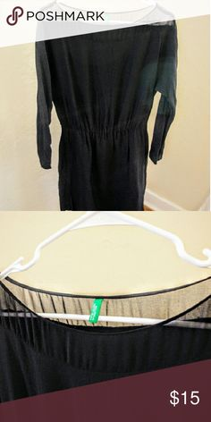 """Benetton Black 3/4 Sleeve Dress w/ Sheer Neckline Black faux wrap dress with a sheer neckline.?33"""" long from neckline to hem.?Fabric drapes well, hits above the knee. Slightly elasticized waist that gives definition and works great with a statement belt. Bought about two years ago and worn only a few times. Selling only as it no longer fits me, sadly. Like new condition - no wear. Machine washable.? United Colors Of Benetton Dresses Midi"""