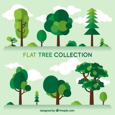 Set trees of different kind in flat design Free Vector Illustration Design Plat, Tree Illustration, Landscape Illustration, Graphic Illustration, Vector Illustrations, Buch Design, Design Design, Design Elements, Posca Marker