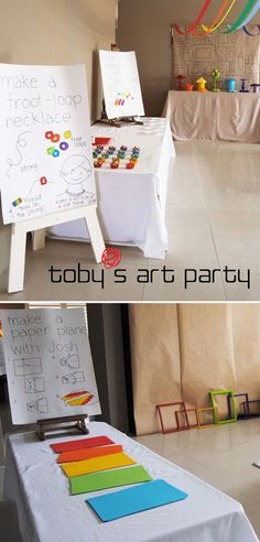 Decor, activity ideas and food ideas. Love it for Chloe 6th party. Froot-loop necklace, colorful paper airplanes, frames printed on paper that kids draw in and hang on wall. All this and it's a rainbow artist party. Perfect.