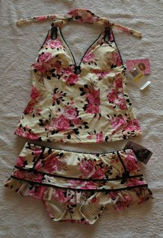 de9d58e57d6e3 RARE Betsey Johnson Swimwear Set Bikini/Tankini w/ Dress Cover-up w/tags  Hard to Find