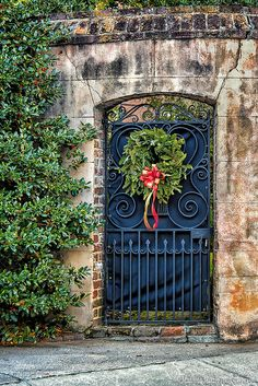 Church Street garden gate, decked out for Christmas (Charleston, SC) by Cottage Days, via Flickr