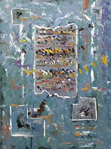 """Tabula Colorum by Donald Fox Oil with Collage ~ 40"""" x 30"""""""