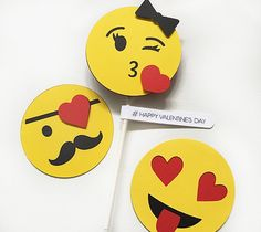We can't get enough of these fun Valentine's Day Emojis created by Rob and Bob Studio. You can make them NOW in Design Space!  All you need is your Cricut Explore, some Cardstock, and a pen!