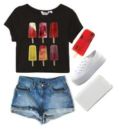 """""""can we ride the ferris wheel?"""" by neurotic-mind ❤ liked on Polyvore featuring Charlotte Russe, Armani Jeans, white sneakers, platform sneakers, tee, white, fruit popsicles, black, black tee and white wallet"""