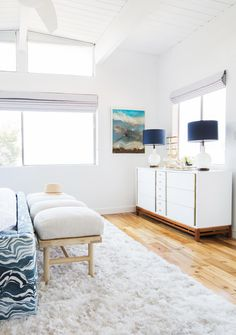 Bright, Mid-Century Inspired Credenza For A Master Bedroom