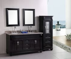 Bathroom Double Bathroom Vanities With Towel On The Granite Countertop And Two Large Mirror Also Drawer As Well As Drawer Modern Designs Of Double Bathroom Vanities