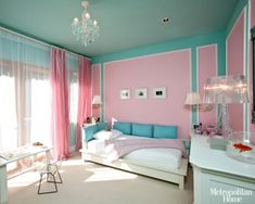 House of Turquoise: Cantilever Design--pink and turquoise girl's room, white accents Blue And Pink Bedroom, Blue Teen Girl Bedroom, Pink Room, Teen Girl Bedrooms, Little Girl Rooms, Pink Walls, Tiffany Blue Bedroom, White Bedroom, Blue Bedroom Ideas For Girls