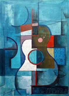 Items similar to Original canvas cubist painting signed gift abstract signed Emanuel M Ologeanu guitar acrylic inspired Braque Griss Picasso on Etsy Music Painting, Guitar Painting, Music Artwork, Guitar Art, Cubist Paintings, Cubist Art, Diy Canvas Art, Abstract Canvas, Painting Abstract