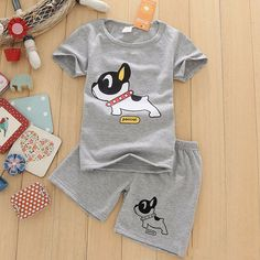 1fa01d95d7 2017 New Boys Clothes Short Sleeve T-Shirt+Shorts Set O-Neck Dog Pattern  Boys Clothing Set Gray Children Clothing