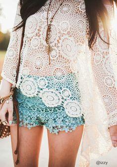 Oversize Batwing Crochet Top - Floral Cutout Detailing Blouse