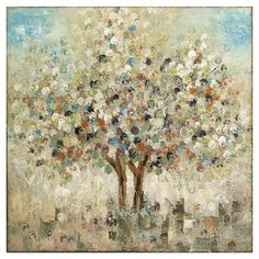 Add an artful touch to your entryway or living room with this hand-painted canvas print, featuring an abstract tree design.    Pro...