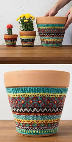 Free Knitting Pattern for Plant Cozies - These fair isle covers in three sizes are perfect for dressing up pots. Perfect for housewarming, hostess, get well, and teacher gifts. Each cozy uses small amounts of each color of yarn so it's a great project for scraps and oddments. Designed by SpillyJane for Knit Picks.