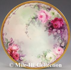 "Beautiful Limoges France Hand Painted Roses Plate Signed ""Mwest"" 