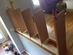 Post with 618361 views. We built a bookcase railing because we didn't want to feel like we lived in 'jail'. Bookcase Stairs, Stair Shelves, Bookshelves Built In, Stair Storage, Shelving, Step Bookcase, Home Renovation, Home Remodeling, Diy Stair Railing