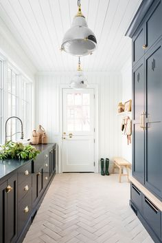 Industrial Pendant McGee & Co. Industrial Pendant McGee & Co. Home Design, Interior Design, Salon Design, Design Design, Mudroom Laundry Room, Dutch Door, Coastal Homes, Coastal Kitchens, Grey Kitchens