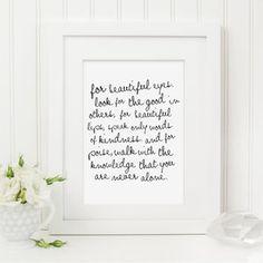 Audrey Hepburn Quote Typography Print - posters & prints