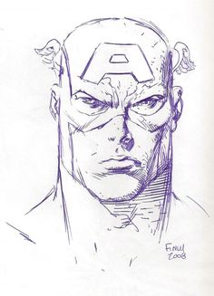 Captain America Head Sketch Comic Art