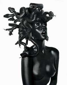In Greek mythology Medusa was a Gorgon, a chthonic female monster & a daughter of Phorcys & Ceto. In a late version of the Medusa myth,… Damien Hirst, Black Mode, John Rankin, Tableaux Vivants, The Wicked The Divine, Myths & Monsters, Foto Art, Greek Gods, Gods And Goddesses