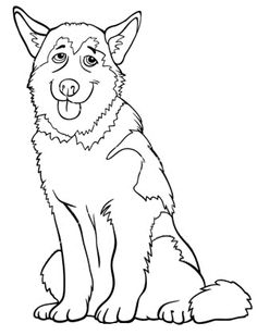 Black And White Cartoon Illustration Of Funny Siberian Husky Or Alaskan Malamute Dog For Coloring Book