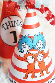Thing 1 & Thing 2 Dr Suess Birthday Party Hats  by partyinvites, $6.00