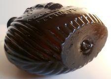 RARE Antique EARLY french PONTIL pilgrim flask chestnut bottle black glass jar