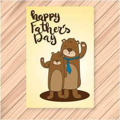 Happy fathers Day Bears Family vector Background
