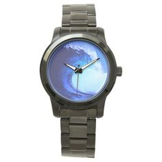 tubo azul de la onda que practica surf relojes de pulsera