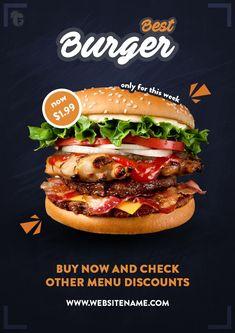 #concept #poster #design #banner #burger #design #flyer #promo #bigbig burger | promo design concept Food Graphic Design, Food Menu Design, Food Poster Design, Foodtrucks Ideas, Menue Design, Big Burgers, Fast Food Menu, Food Banner, Gourmet Burgers