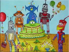 Robot's Birthday Party by luvelosor on DeviantArt
