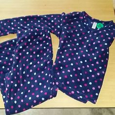 Fleece pajamas Blue, pink, purple, and violet polka dots on these very warm pj's. Brand new. Intimates & Sleepwear Pajamas