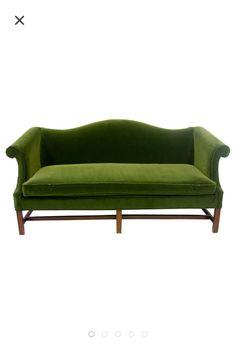 Green Velvet Camelback Sofa with Fretwork Legs - Image 1 of 5 Velvet Furniture, Gold Furniture, Antique Furniture, Furniture Ideas, Furniture Reupholstery, Upholstered Furniture, Green Velvet Sofa, Sofa Bench, Sofa Shop