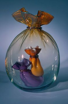 John Littleton & Kate Vogel Art-Glass Bags within Bag Paperweight ♥•♥•♥
